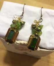 Citrine Peridot Earrings and Coloured Fresh Water Pearls Dangle