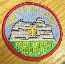 Vintage USA Scout Cloth Badge Patch - Four Lakes Council Camp Castle Rock
