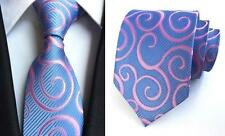 Blue and Pink Patterned Handmade 100% Silk Tie