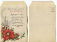 VINTAGE CHRISTMAS WHITE GRAY CANDLES RED POINSETTIA HOLLY BERRIES GREETING CARD