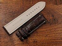 BREITLING Watch Strap Band 24mm Marrone Scuro Opaco Vero Coccodrillo Sconto