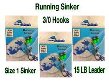 6 Running Sinker Flathead Fishing Rigs - 3/0 Octopus Hook Size 1 Sinker 15lb Rig