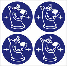 SCOOBY DOO ALLOY WHEEL CENTRE CAP STICKER COVER X4 BLUE WHITE 45mm