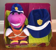 """Fisher-Price Barney Police Hat Plush Stuffed Animal 12"""" Toy & Matching Hat New"""