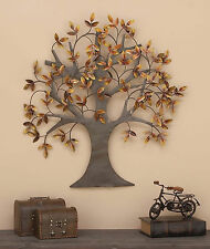 Metal Wall Art Tree of Life Leaves Dream Sculpture Large Home Decor Brown Copper