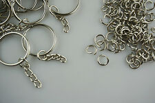DIY 25mm 100 x Keychain +100 x Split Ring Silver Keyring Short Chain Key Rings