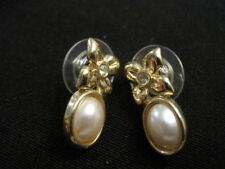 Gold tone Floral Rhinestone and Faux Pearl Drop Earrings
