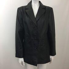 Worthington Black Leather Coat Large