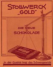 1912 Stollwerck Gold Waage Qualität ca. 18x25 cm original Printwerbung