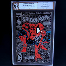 SPIDER-MAN #1 SILVER EDITION 💥 SIGNED STAN LEE + MCFARLANE 💥 9.8 PGX SS 1990