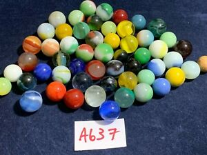 Mixed Lot Of 50 Vintage / Antique Glass Marbles  - Various Makers - Used - #A637