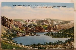 Yellowstone National Park Beartooth Mountains Twin Lakes Postcard Old Vintage PC