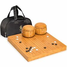 """Bamboo 2"""" Go Board w/ Double Convex Melamine Stones and Bowls Set"""