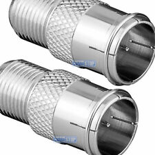 ZINC 2 x F TYPE MALE QUICK TO FEMALE PUSH ON FAST FIT TV Aerial Sky Connector