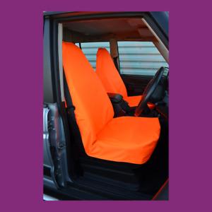 Fluorescent Orange Waterproof Car Van Universal Front Pair Seat Covers UK Made