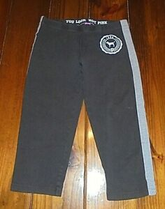 PINK by Victoria's Secret Black Capri Leggings Gray Accents size XS Girls Junior