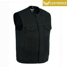 Men SOA Black Denim Cut Collarless Biker Vest Waistcoat w/d Gun Pockets UK Stock
