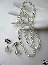 Vintage jewelry crystal glass necklace clip earrings demi parure FREE SHIP set