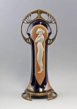 9937466-dss Tafelaufsatz Jugendstil kobalt Akt  Keramik Bronze