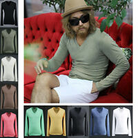 ByTheR Men's Fashion Daily Casual Urban Basic Cotton V Neck Long Sleeve T-shirt