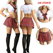 UK Women Sexy Lingerie School Girl Uniform Plaid Skirt Role Play Costume Outfits