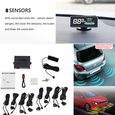 Car LCD Parking Sensors System Kit 8 sensors Reverse Accessories waterproof  12V