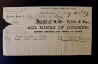 1869 Bill Head Burlington Vermont ROLFE TYLER & CO Lumber ~ Dressed & Sawed ~ VT