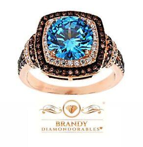 Brandy Diamondorables® Chocolate Brown 18K Rose Gold Silver Cushion Halo Ring