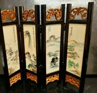 1960's CHINESE EXPORT WARE SIGNED MINIATURE HANDPAINTED MARBLE SCREEN