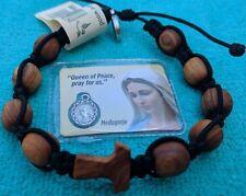 Catholic Black Mens Olive Wood Prayer Bracelet With TAU Cross From Medjugorje