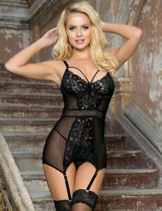 Sexy Black Red Lace & Mesh Basque With Suspenders Plus Sz 8 10 12 14 16 18 20 22