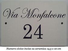 Numero civico+via incisi su piastrella di ceramica 14,5 x 9,5 cm