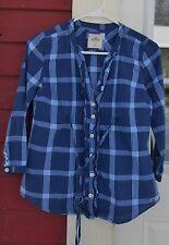 "HOLLISTER Blues/White Plaid 3/4 Sleeve V Neck Button Cotton Shirt Size XS (36"")"