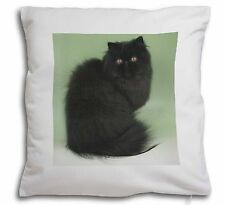 Black Persian Cat Soft Velvet Feel Cushion Cover With Inner Pillow, AC-107-CPW