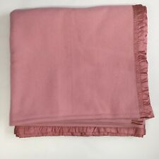 Onkaparinga Pink Wool Satin Trimmed Woven in Australia - Queen Blanket 88 x 96