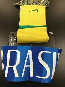 Nike Swoosh Brazil Brasil CBF Futbol Soccer Yellow Green Blue Scarf Reversible!!