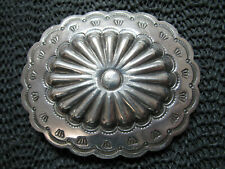 NATIVE STERLING SILVER REPOUSSE CONCHO HIPPIE BELT BUCKLE! VINTAGE! RARE! 37g!