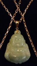 "9CT SOLID YELLOW GOLD & PALE GREEN CARVED JADE BUDDHA PENDANT 20"" CHAIN BOXED**"