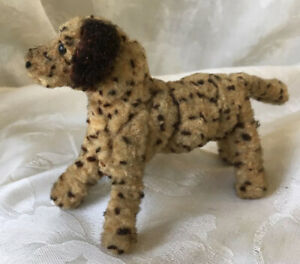 """Vintage/Antique Small Spotted Standing Dog Plush Toy Mohair 4 1/2"""" X 3"""""""
