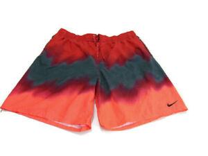 Nike Trunks Red Gray Pink Drawstring Elastic Waist Zip Pockets Swim Mens 2XL