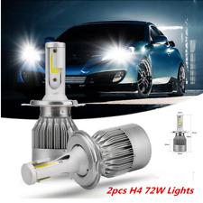 2 PCS 6000K COB H4 C6 7600LM 72W LED Car Headlight Kit Hi/Lo Turbo Light Bulbs