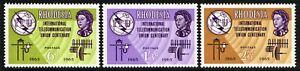 SG 351-353 RHODESIA 1965 ITU CENTENARY SET - MOUNTED MINT