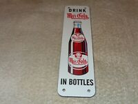 "VINTAGE DRINK MA'S COLA IN BOTTLES 10"" PORCELAIN METAL MOM SODA POP GAS OIL SIGN"
