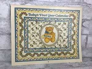 """Vintage Baby's 1st Year Calendar 1990 Customizable With Enclosed Stickers 11x9"""""""