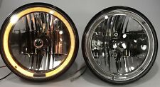 "Pair (2) Premium 7"" Crystal Headlights Lamps with Amber LED Halo Auxiliary Ring"
