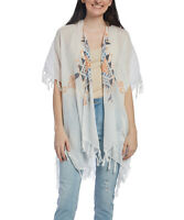 White Women Bikini Cover Up Beachwear Beach Dress Fringe Trim Kimono Cardigan