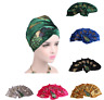 Women Sequined Velvet Peacock Embroidery Long Turban Head Wraps Hijab Head Scarf