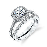 Sterling Silver Princess Cut CZ Engagement Wedding Ring Set Cubic Zirconia FY012