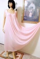 LUCIE ANN vintage Nylon Satin Banded Sleeve LIGHT PINK Nightgown size L large
