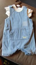 M&S 2 Part 100%Cotton Short Denim Dungarees & T-shirt Set 6-9m 72cm Multi BNWT